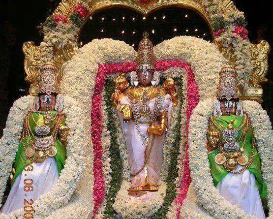 Lord Sri Venkateswara With Sri Devi And Bhudevi