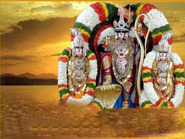 The Majestic Lord Sri Venkateswara With His Divine Consorts