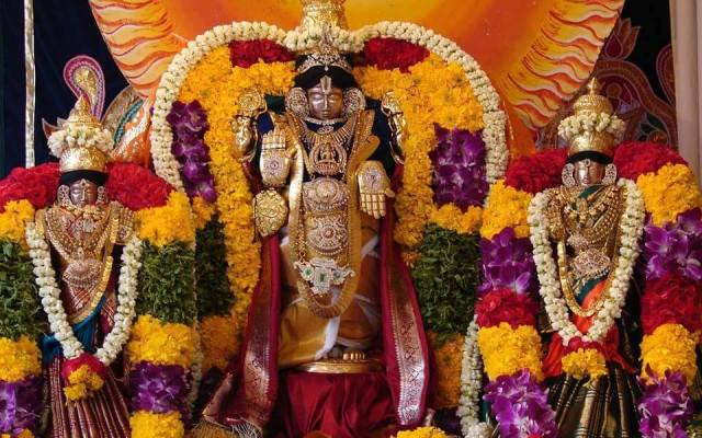 Lord Sri Venkateswara With Sridevi And Bhudevi