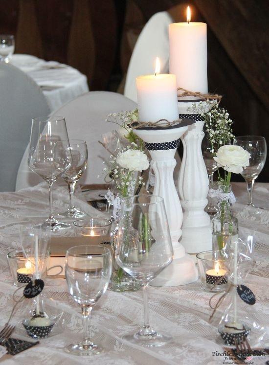 Tischdekoration black & White, tischdeko zum 50. Geburtstag