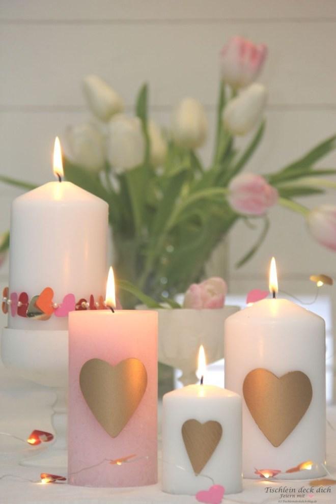 Romantische Kerzendekoration zum Valentinstag