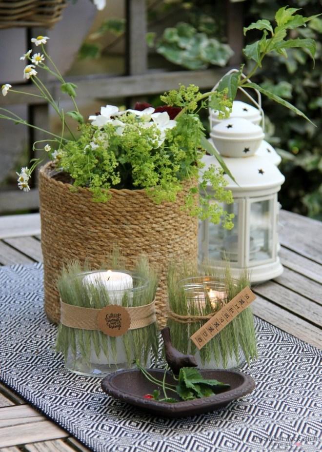 sommerliche Windlichter mit Kornähren DIY