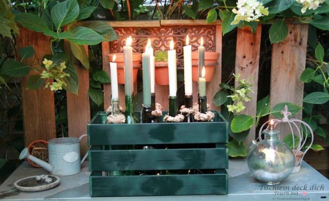 DIY mit Weinflaschen, romantische Kerzendekoration