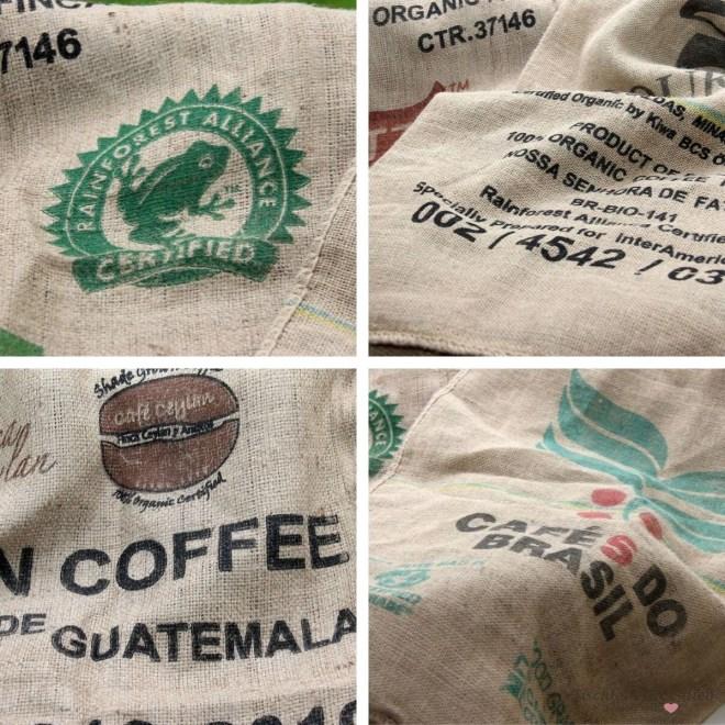 Kaffeesäcke mit hübschen Motiven