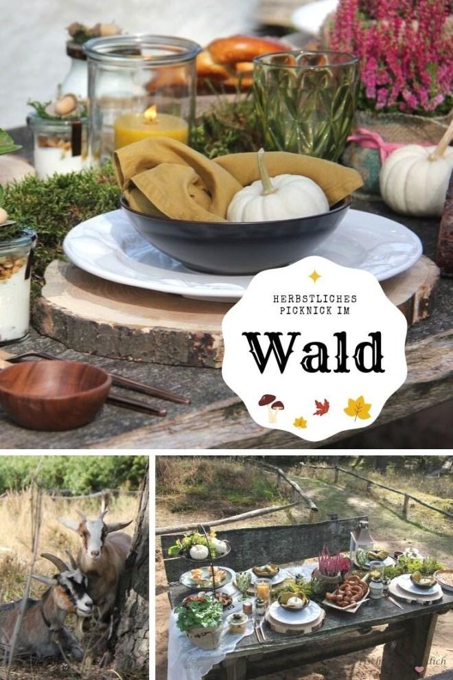 Pinterestgrafik herbstliches Picknick im Wald