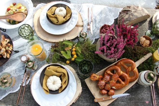 Flatlay herbstliches Picknick