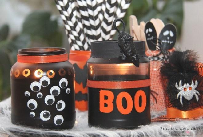 Halloween Gläser basteln für die Halloween Party