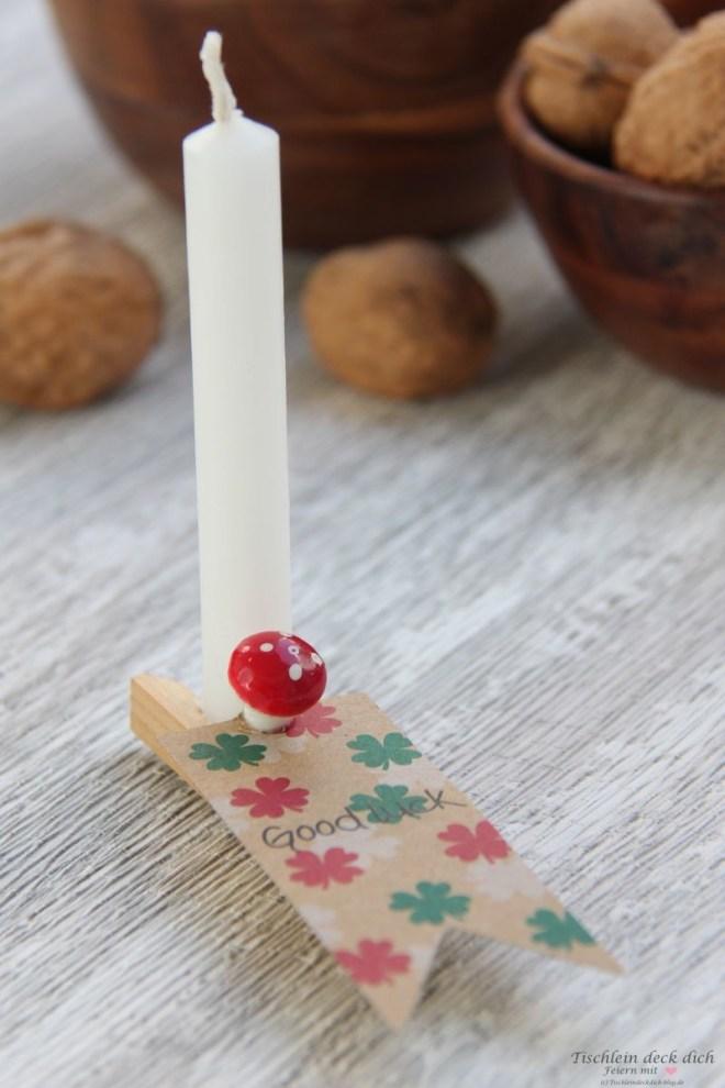 DIY viel Glueck mit Kerze