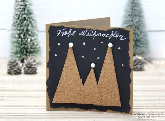 Weihnachtskarte basteln mit Kork