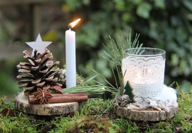 Holzscheiben-DIY-Weihnachten