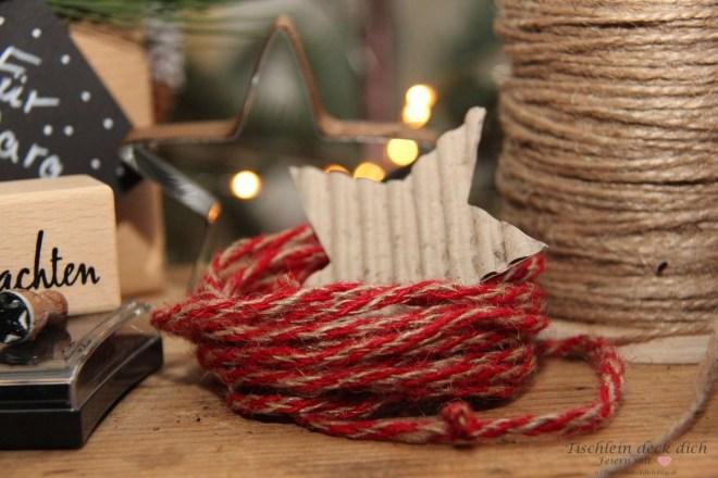 rote Kordel, weihnachtliches DIY