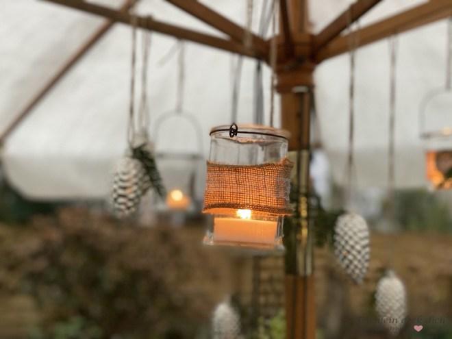 Windlicht Dekoration im Garten