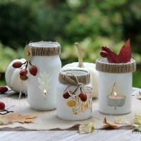 Altglas Upcycling Idee für den Herbst