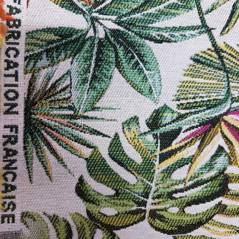 tissu jacquard ameublement bahia feuilles vertes fabrication francaise