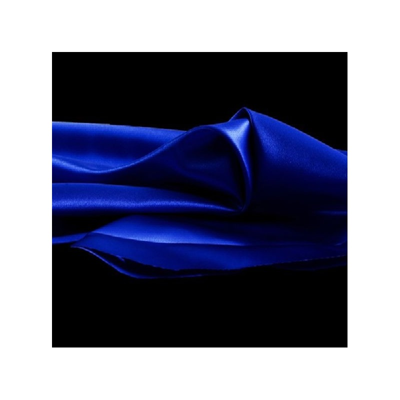 tissu satin uni bleu roi