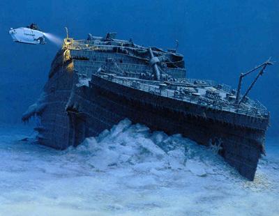 immagine raffigurante il titanic sul fondo del mare