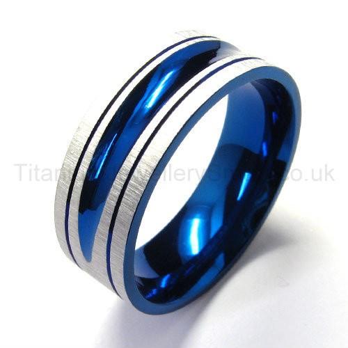 Blue Pure Titanium Ring 18443 95 Titanium Jewellery UK