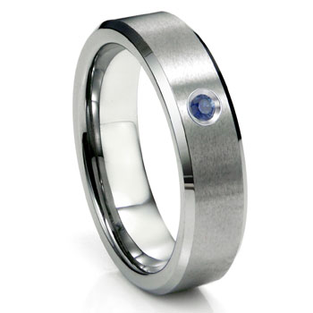 Tungsten Carbide Sapphire Satin Finish Beveled Mens