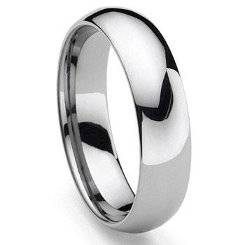 CLASSICAL Tungsten Carbide Mens Plain Dome Wedding Band