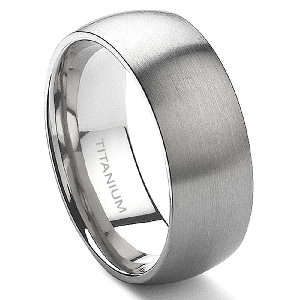 Titanium 8mm Dome Wedding Band Ring