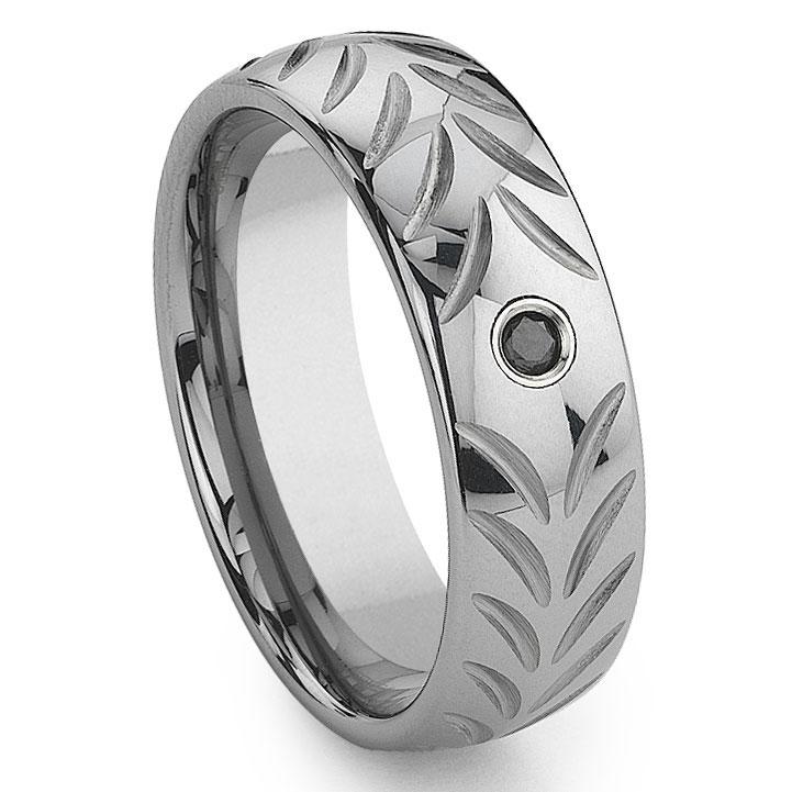 Mens Rings Black Tungsten Diamond Wedding Bands