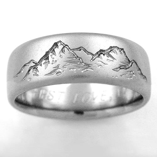 Mountain View Titanium Ring With Mountains Titanium