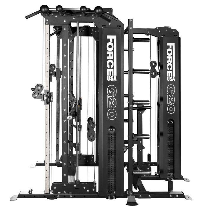 force usa g20 krafstation smith maschine squat rack vertikale beinpresse lat pull down und low row