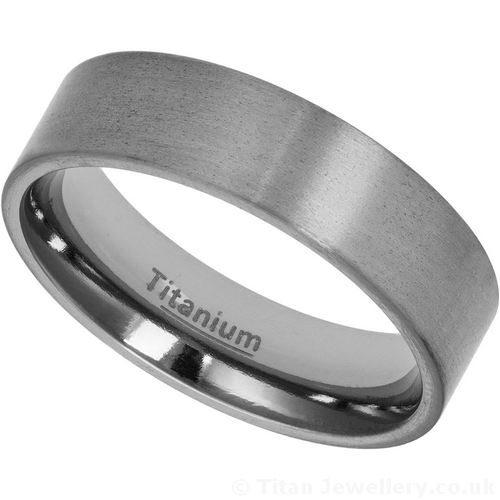 6mm Titanium Wedding Band With A Satin Brushed Finish