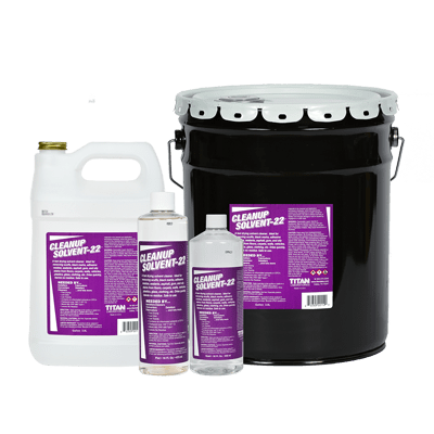 Cleanup Solvent-22 available in pint, quart, gallon, and 5-gallon bucket