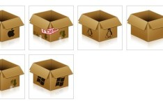 3D Cardboard Boxe Icons