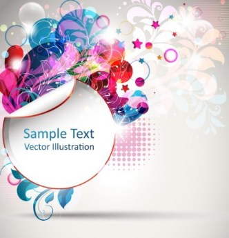 Abstract Sticker with Flowers Background Vector