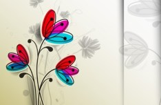 Cartoon Hand-Drawn Flowers Vector