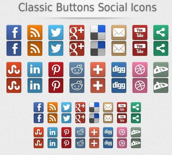 Classic Social Media Buttons