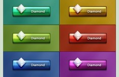 Color Diamond Web Buttons PSD
