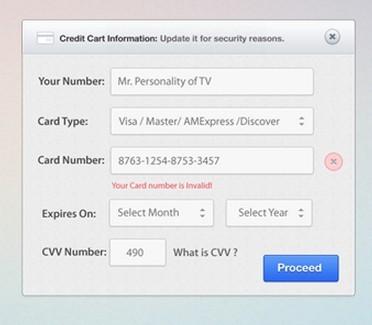 Credit Card Form (PSD + CSS)