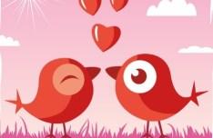 Cute Cartoon Birds Vector For Valentine's Day
