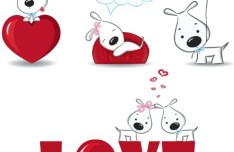 Cute Cartoon Doggy Vector For Valentine's Day
