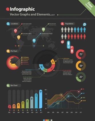 Dark Infographic Vector Elements