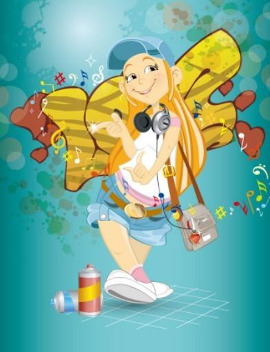 Fashion Music Girl Vector Illustration