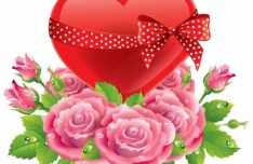 Florals and Red Heart with Ribbon Vector
