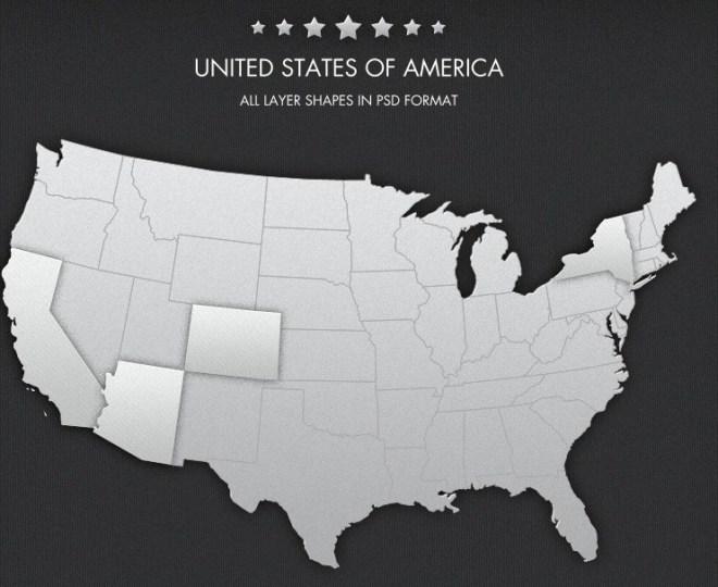 Free USA Map PSD