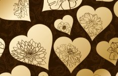 Golden Heart-shaped Pattern Background 3