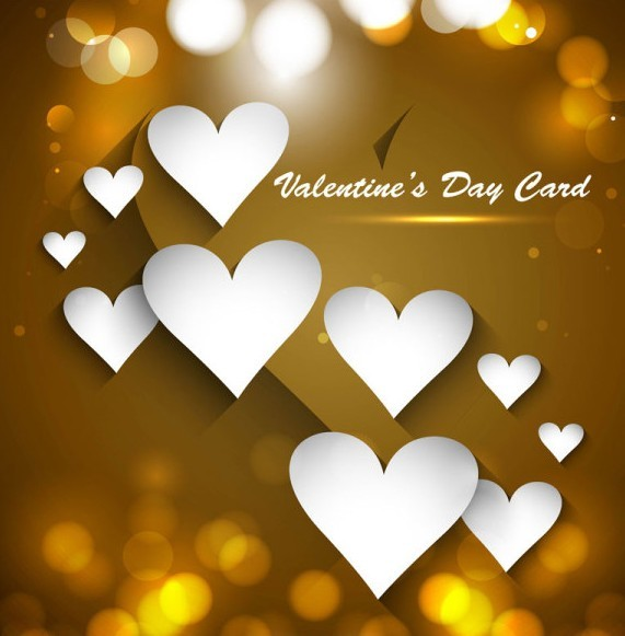 Golden Valentine's Day Heart Card