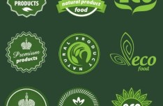 Green Natural Food Badges Vector