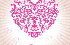 Heart Shaped Vector with Retro Pattern For Valentine's Day