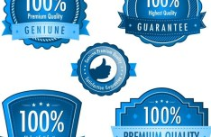 High Quality Blue Badge Vector Labels 02