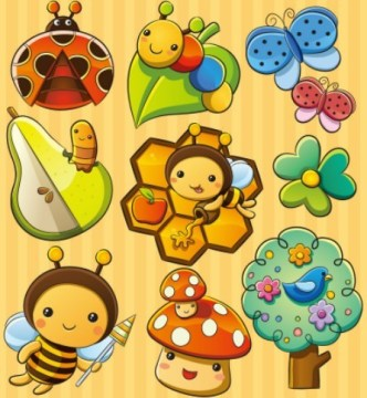 Lovely Cartoon Insects Vector