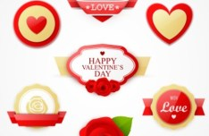 Lovely Valentine's Day Labels Vector