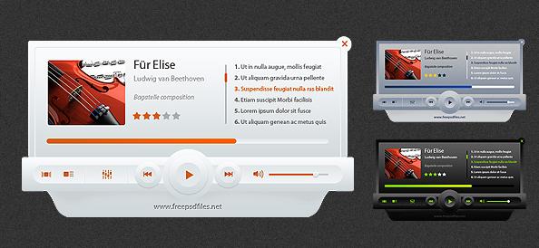 Music Player PSD Mockup