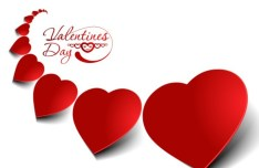 Red Heart-Shaped Labels Vector